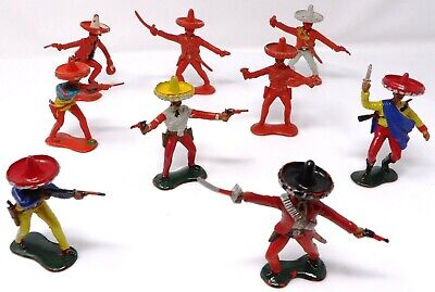 Vintage Crescent Mexicans 60mm Toy Soldiers X 9. • 12.99£