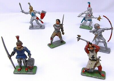 Vintage Crescent Knights FULL SET OF 6. Toy Soldiers 54mm. • 19.99£