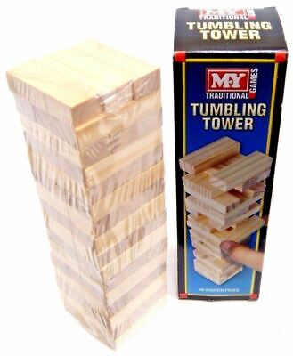 Traditional Wooden Stacking Tumbling Tower Game Like Jenga Kid Family Board Mini • 5.45£