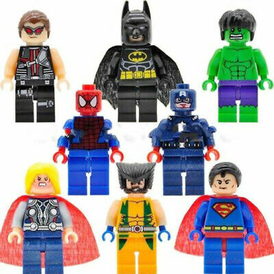 8Pcs Marvel Avengers Mini Figures Fit Lego Hulk Superman Thor Batman Spiderman • 5.89£
