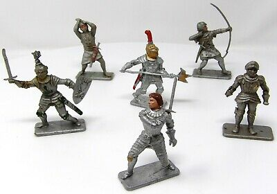 Vintage Crescent Knights FULL SET OF 6 Poses. Toy Soldiers 54mm. • 14.99£
