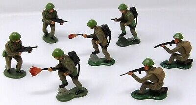 Vintage Crescent WW2 British 60mm. VGC. Repainted X 7. Toy Soldiers. • 11.99£