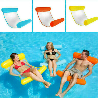 Inflatable Floating Water Hammock Float Pool Lounge Bed Swimming Chair 6 Colors • 6.89£