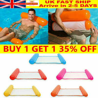 Inflatable Floating Water Hammock Float Pool Lounge Bed Swimming Chair UK • 8.29£