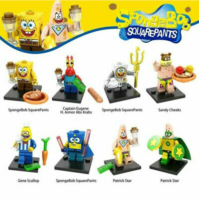 8Pcs SpongeBob SquarePants Minifigure Fits Lego Movie Kids Collection Bday Gift • 7.99£