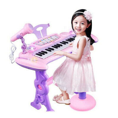 Electronic Organ Musical Instrument Keyboard Piano Kids Toy + Microphone +Stool • 24.99£
