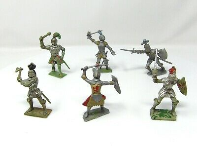 Vintage Cherilea Knights FULL SET OF 6. VGC. Toy Soldiers 60mm. • 11.99£