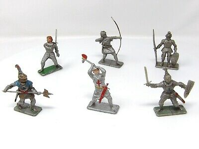 Vintage Crescent Knights FULL SET OF 6. VGC. Toy Soldiers 54mm. • 18.99£