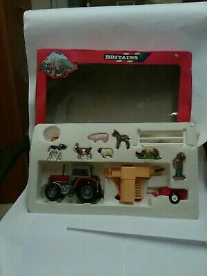 Britain Vintage Farm Massey Ferguson Gift Set 9661 Tractor Baler Trailer And... • 65.99£
