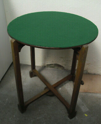 Vintage Fold Down Card Table Green Felt Top Round Games Table - Collect Bideford • 20£