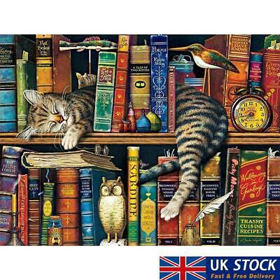 Jigsaw Puzzles Puzzle 1000 Pieces For Adult Cat On Bookshelf Educational Toy • 8.39£