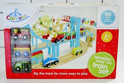 Carousel Wooden Super City Wooden Train Set 100 Pieces - Compatible With Brio • 29.95£