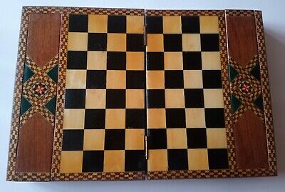 Beautiful, Folding Chess Board / Box + 2 Drawers For Pieces - Handmade Marquetry • 24£