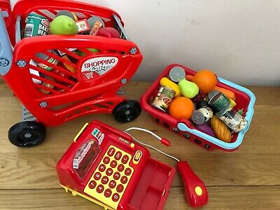 Child Kids Toy Shopping Trolley Cart & Food Accessories • 14.99£