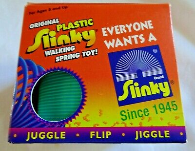 Original Plastic Slinky In Green, Retro Toy - Unused & Great Condition Box • 19.99£