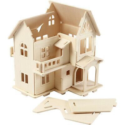 3D Wooden Puzzle House Model Kit Construction (House With Balcony) • 7.99£