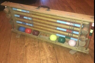 Vintage Croquet Set In Original Carrying Storage Rack For Up To 6 Players • 335£