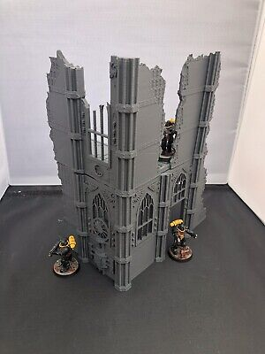 3D Printed Large Two Level Gothic Ruin For 28mm Warhammer 40k And Kill Team • 17.99£
