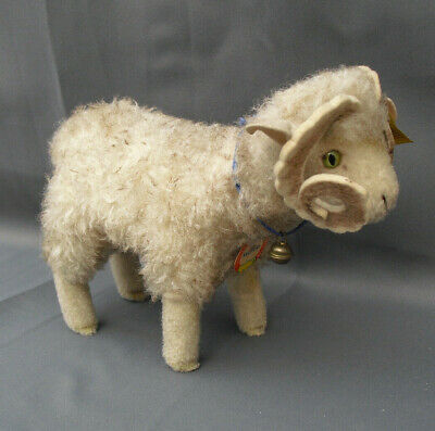 Vintage Steiff Merino Sheep Ram Wotan -original Label & Ear Button & Ear Ribbon  • 35£