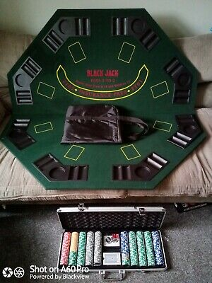 1.2m/48 Inches Foldable Poker Table In Case Poker Chips In Carry Case • 12.50£