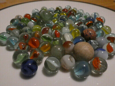 80 Vintage Marbles, Various Sizes And Ages (all At Least 60yrs Old) • 3£
