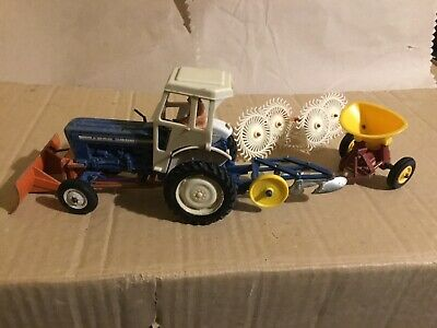 Britains Farm Toys Ford 5000, Front Yard Scraper, Acrobat, 3 Furrow Plough. • 50£