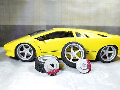 1/18 Set Of Wheels Tyres And Brake Disks For Diorama Or Diecast UNPAINTED • 10£