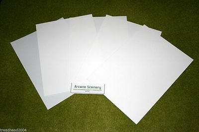 5 Sheets Of WHITE Plasticard Assorted Thicknesses – See Decription • 5.95£