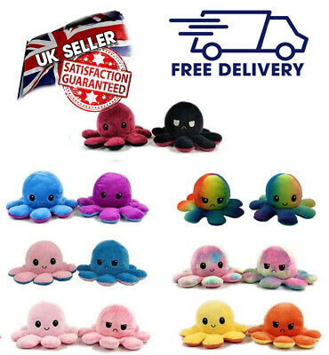 Cute Reversible Flip Octopus Plush Doll Gift Plush Octopus Stuffed Toy!! • 9.99£