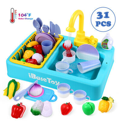 Kids Toy Sink Wash-Up Kitchen Sink With Running Water Pretend Play Role Play New • 16.55£