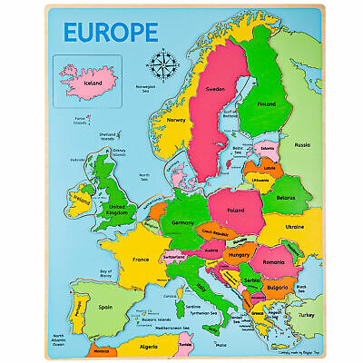 Bigjigs Toys Wooden Geography Europe Inset Jigsaw Puzzle Educational • 11.98£