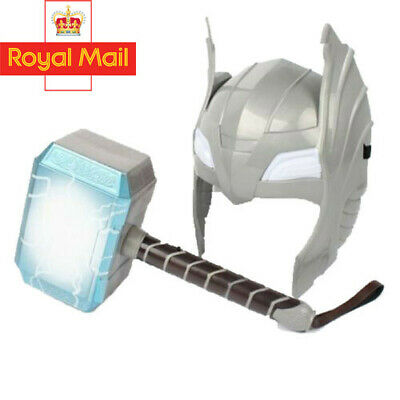 UK Store Avengers Thor Hammer Helmet LED Glowing And Sounds Halloween Cosplay • 14.35£