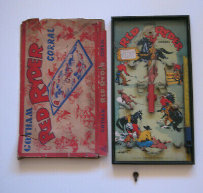 Vintage Bagatelle Gotham 'RED RYDER' 1940's. Super Scarce + Box & Peg!     • 95£