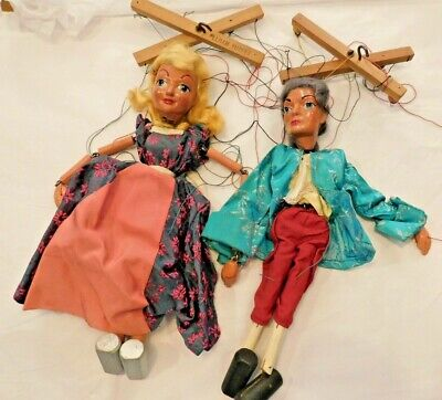 Vintage Pelham Puppets / X 2 / Prince Charming / Cinderella / Early 1950s • 49.99£