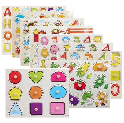 New Baby Toddler Jigsaw Kids Puzzle Alphabet Letters Animal Wooden Learning Toys • 3.29£