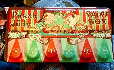 Rare Punch And Judy Vintage Rin Watercolour Paintbox  Original Paintbrush 1960's • 15£
