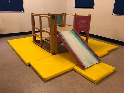 Used Wooden Toddler Climbing Frame With Slide & Safety Mats For Ages 2-4 Years  • 59£