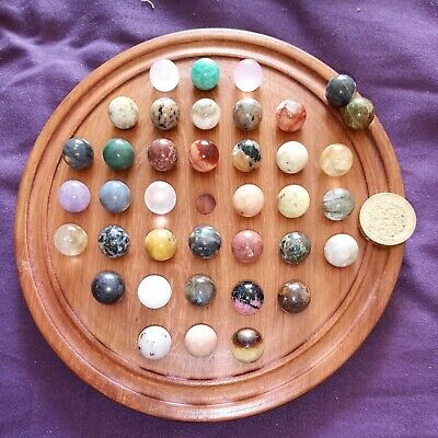 Gemstone, Mineral  Marbles Solitaire Game Set - 38 X 13mm Marble Chakra • 40£