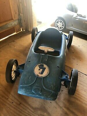 Blue 1960's Racing Car Collectable Children's Size Model Car - Pedal Operated • 95£