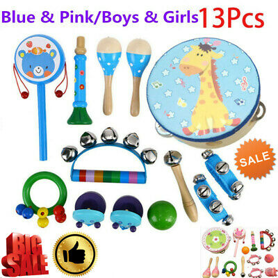 13Pcs Set Wooden Kids Baby Musical Instruments Toys Children Toddlers Percussion • 15.49£