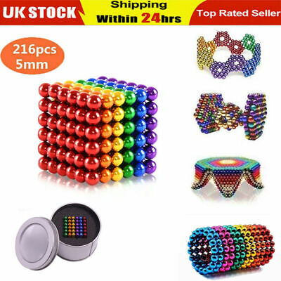 5mm Magnets Magic Balls Beads 3D Puzzle Ball Sphere Magnetic Toys-6 COLORS Adult • 16.62£