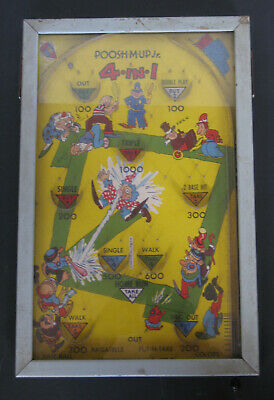 Vintage 1930/1940 Poosh-M-Up Jr 4-in-1 Base Ball Pinball Bagatelle   • 65£