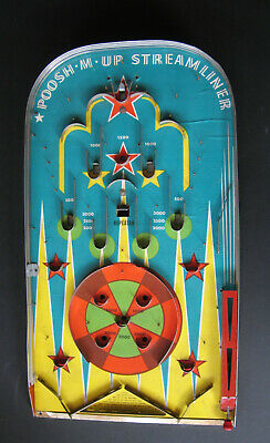 Vintage 1930/1940 Poosh-M-Up 'Streamliner' Pinball Bagatelle. SCARCE!   • 95£