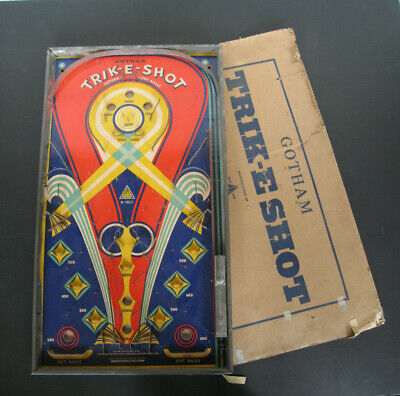 Vintage 1930/1940 GOTHAM 'Trik-E-Shot' Pinball Bagatelle. Great Graphics! • 95£