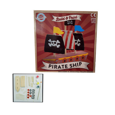 Myo Wooden Pirate Ship Playset With Accessories Build & Paint Age 6+ • 8.99£