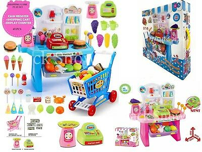 Children's Cash Register Till & Shopping Trolley Kids Role Play Toy Set • 22.99£