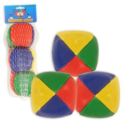 Set Of 3 Juggling Balls Circus Clown Coloured Learn To Juggle Toy • 4.99£