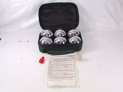Boules Petanque 6 Metal Ball Set In Carry Case With Wooden Jack Ball & Measure • 29.99£