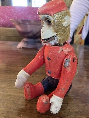 Antique 1920s Tin Plate Schuco German Bellhop Monkey Toy (Tail Moves Head ) • 52£