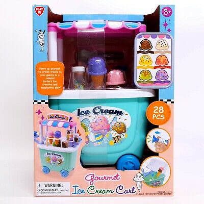 Children's Ice Cream Cart ~ 28 Piece Gourmet Imaginative Play, 3+ Role Play NEW! • 24.99£